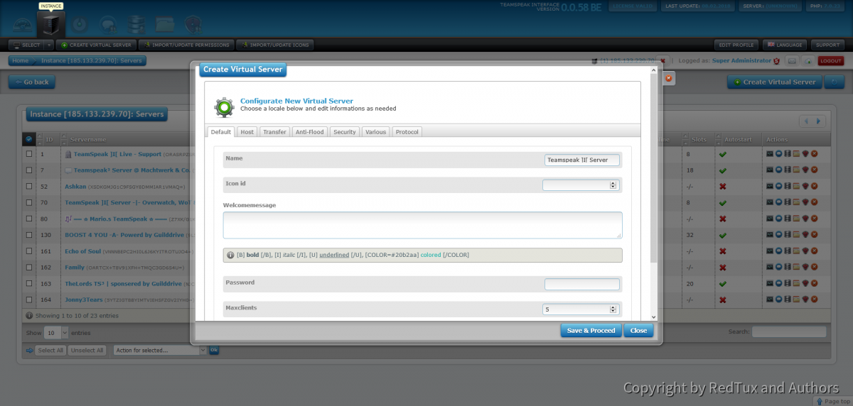 Teamspeak Interface Create Virtual Server