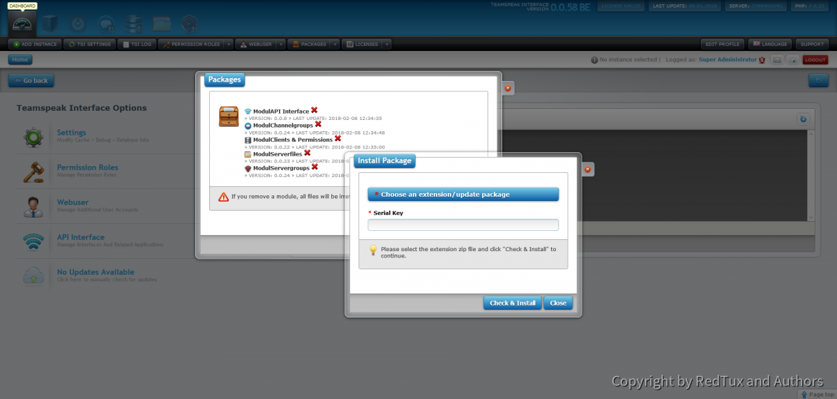 Teamspeak Interface Extension and Update Management