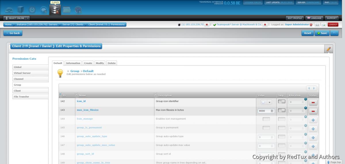 Teamspeak Interface Virtual Server Client Permissions