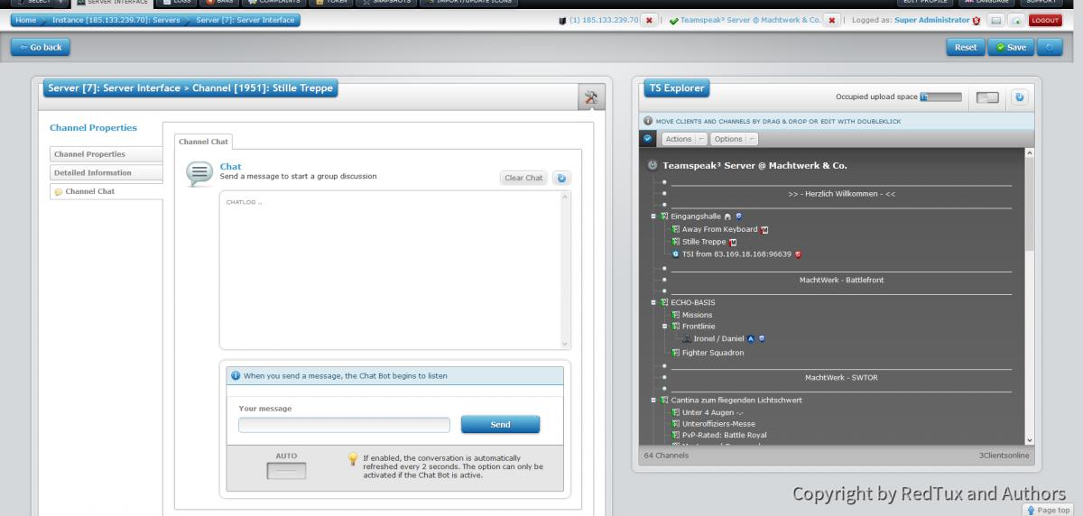 Teamspeak Interface Virtual Server Channel Chat