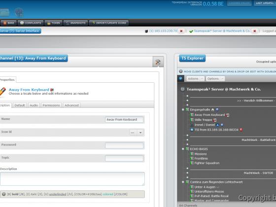Teamspeak Interface Virtual Server Modify Channels