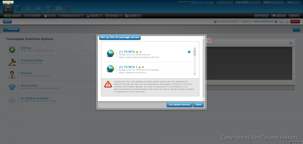 Teamspeak Interface Package Server Management