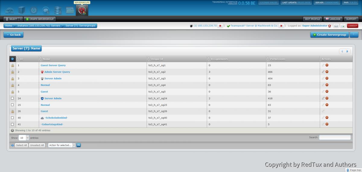 Teamspeak Interface Virtual Server Servergroup Overview