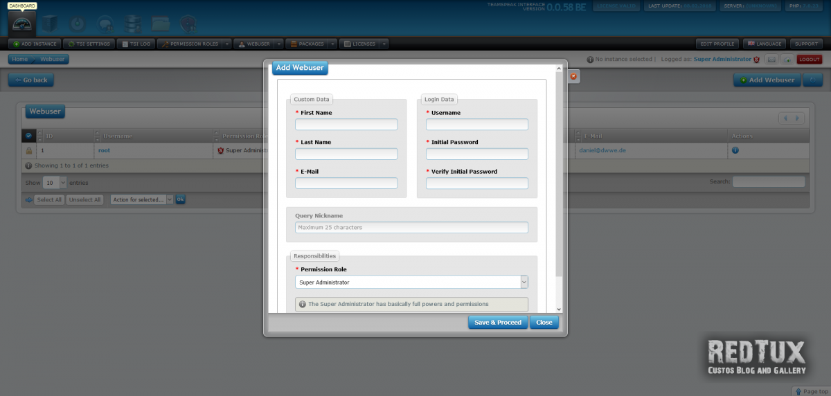 Teamspeak Interface Additional Webusers