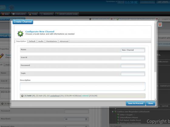 Teamspeak Interface Virtual Server Create Channel