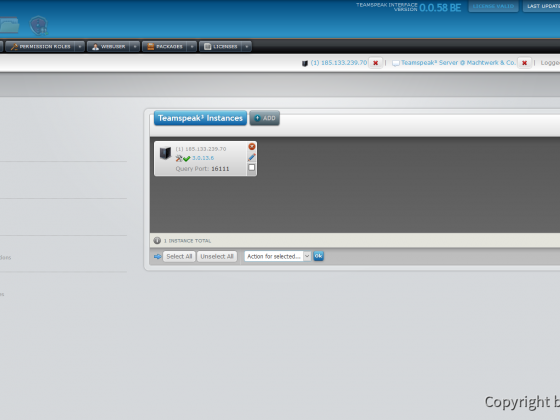 Teamspeak Interface Dashboard