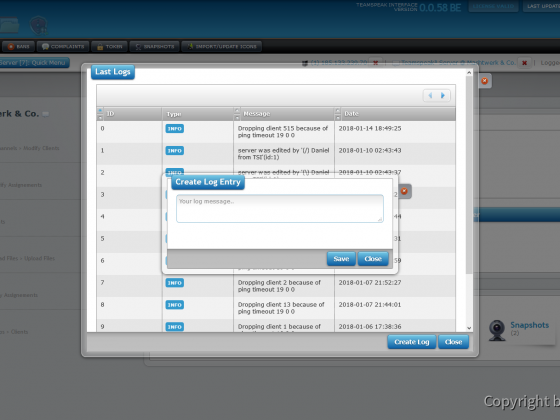 Teamspeak Interface Virtual Server Log Management