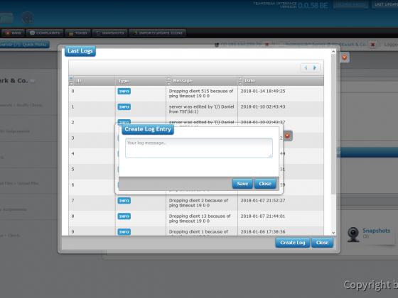 Teamspeak Interface Virtual Server Log Management