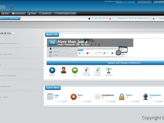 Teamspeak Interface Virtual Server Quick Menu