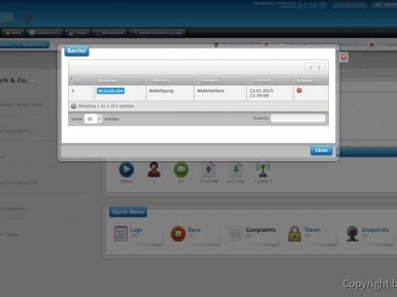 Teamspeak Interface Virtual Server Ban Management