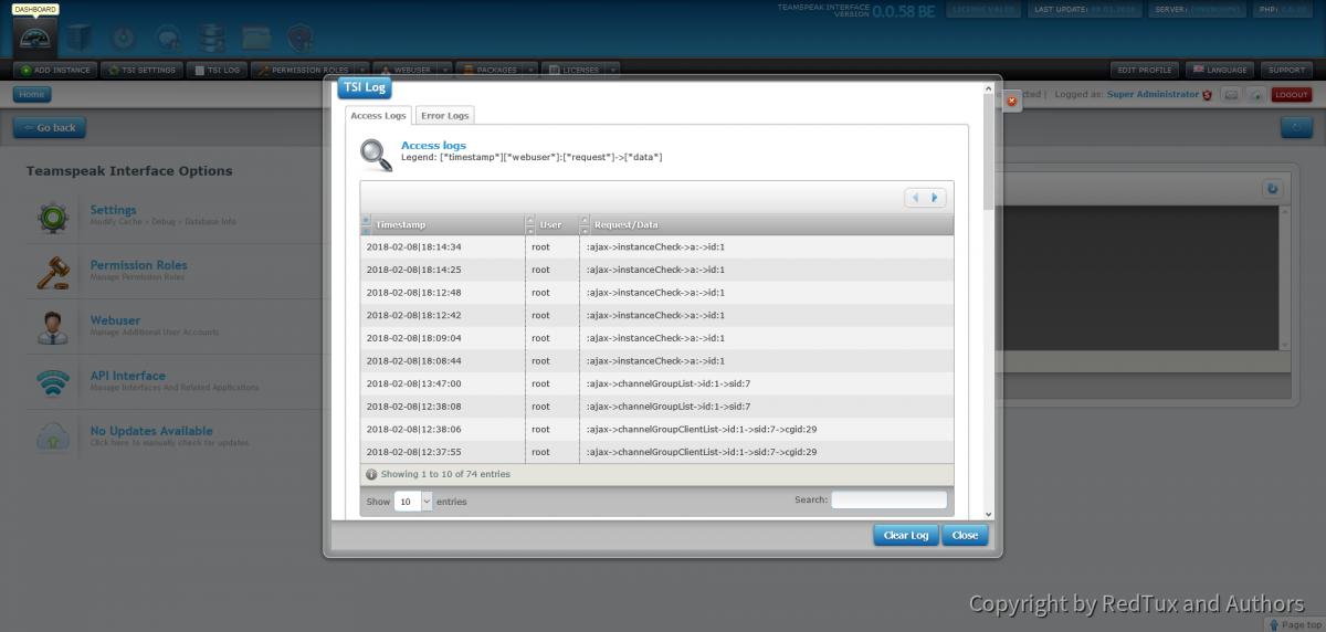 Teamspeak Interface Log Management