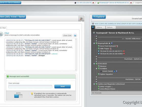 Teamspeak Interface Virtual Server Client Chat