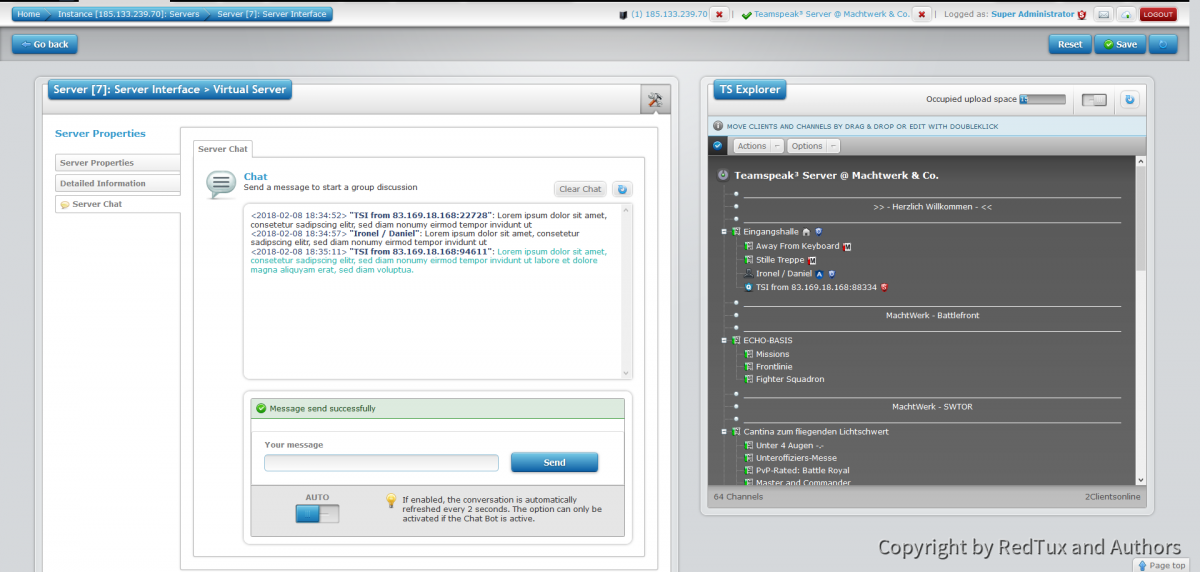 Teamspeak Interface Virtual Server Chat
