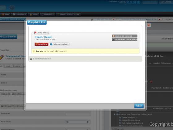 Teamspeak Interface Virtual Server Complaint Management