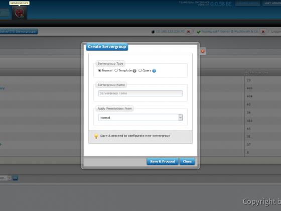 Teamspeak Interface Virtual Server Create Servergroup
