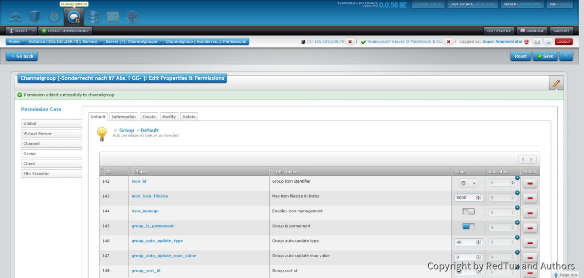 Teamspeak Interface Virtual Server Channelgroup Permissions