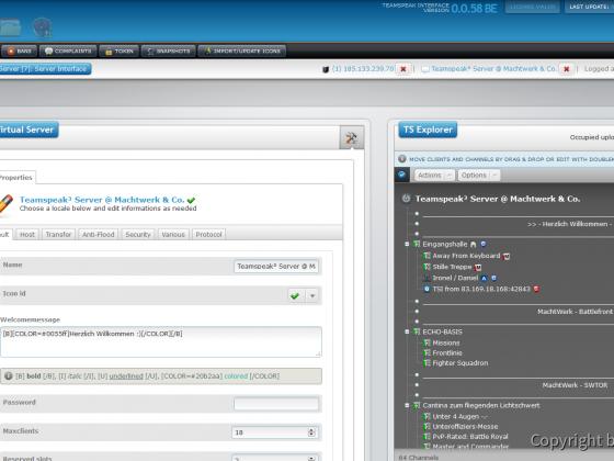 Teamspeak Interface Virtual Server Interface and Explorer