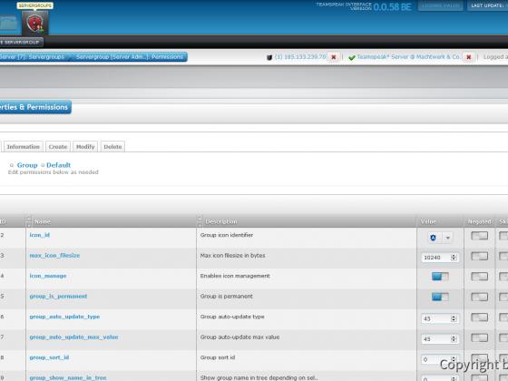 Teamspeak Interface Virtual Server Servergroup Permissions